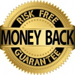 Money back guarantee golden label, vector illustration